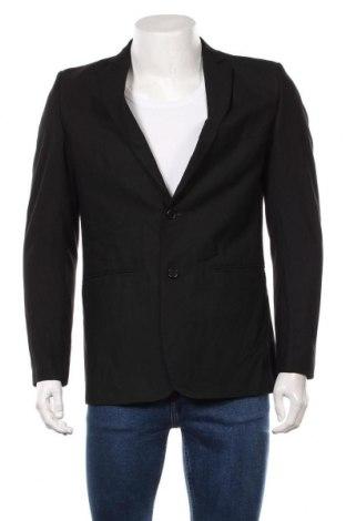 Мъжко сако Zara Man, Размер M, Цвят Черен, 49% полиестер, 49% вискоза, 2% еластан, Цена 35,04лв.