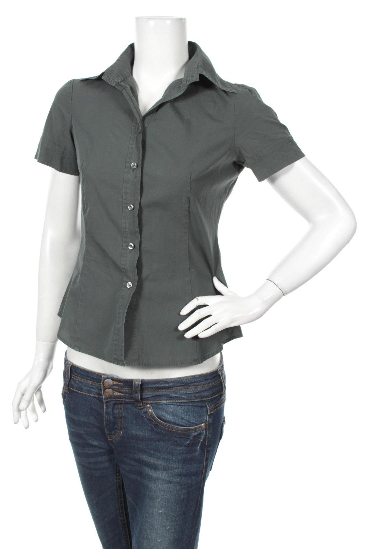 Γυναικείο πουκάμισο United Colors Of Benetton, Μέγεθος S, Χρώμα Πράσινο, Βαμβάκι, Τιμή 12,99€