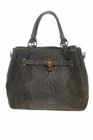 Дамска чанта Mia Tomazzi, Цвят Зелен, Естествена кожа, естествен велур, Цена 232,47лв.