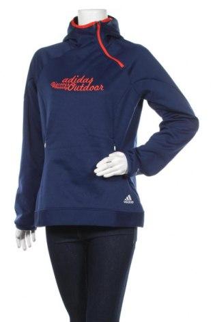Дамска спортна блуза Adidas, Размер L, Цвят Син, 100% полиестер, Цена 47,78лв.