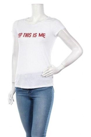 Γυναικείο t-shirt Q/S by S.Oliver, Μέγεθος XS, Χρώμα Λευκό, 88% πολυεστέρας, 12% λινό, Τιμή 6,20€
