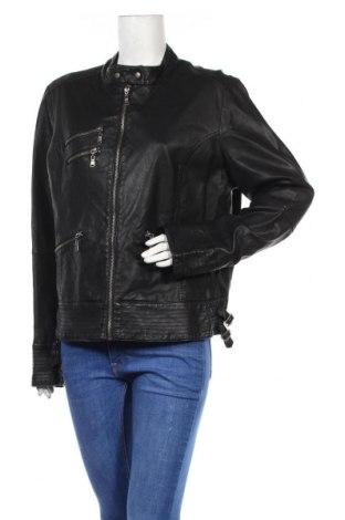Дамско кожено яке KappAhl, Размер XXL, Цвят Черен, Еко кожа, Цена 40,95лв.