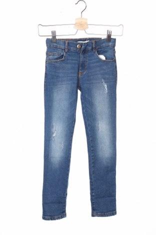 Детски дънки Zara Kids, Размер 7-8y/ 128-134 см, Цвят Син, 99% памук, 1% еластан, Цена 26,95лв.