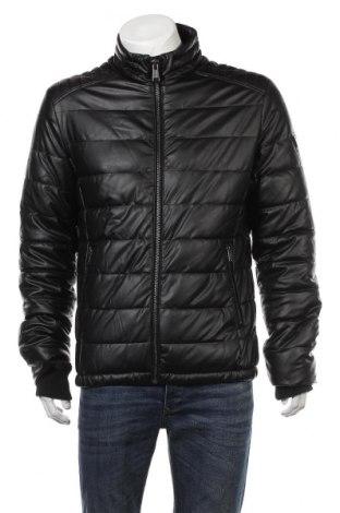 Мъжко кожено яке Guess, Размер L, Цвят Черен, Еко кожа, Цена 131,40лв.