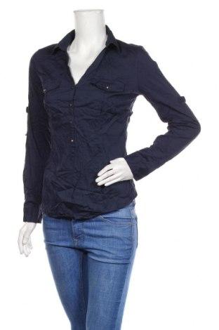 Дамска блуза Amisu, Размер M, Цвят Син, 70% памук, 28% полиамид, 2% еластан, Цена 18,90лв.