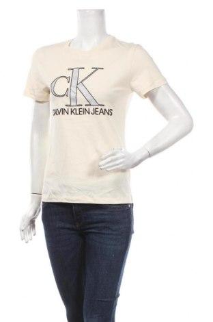 Tricou de femei Calvin Klein Jeans, Mărime S, Culoare Ecru, Bumbac, Preț 259,87 Lei