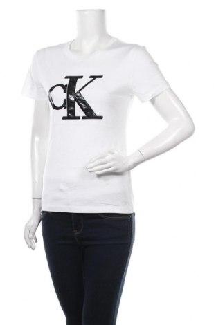 Tricou de femei Calvin Klein Jeans, Mărime S, Culoare Alb, Bumbac, Preț 213,82 Lei