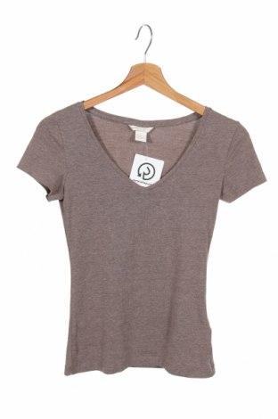 Tricou de femei H&M, Mărime XS, Culoare Bej, 57% bumbac, 38% poliester, 5% elastan, Preț 72,37 Lei