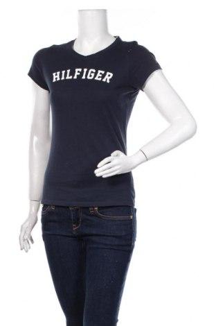 Damski T-shirt Tommy Hilfiger, Rozmiar XS, Kolor Niebieski, Bawełna, Cena 103,20zł