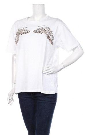 Tricou de femei Zara, Mărime M, Culoare Alb, Bumbac, Preț 82,24 Lei
