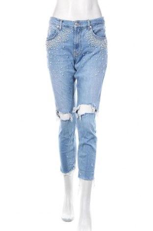 Damskie jeansy Zara, Rozmiar L, Kolor Niebieski, 96% bawełna, 4% elastyna, Cena 127,20zł