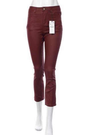 Blugi de femei Zara, Mărime M, Culoare Roșu, 68% bumbac, 29% poliester, 3% elastan, Preț 143,09 Lei