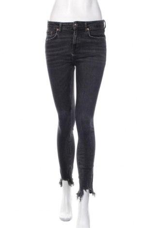 Blugi de femei Zara, Mărime M, Culoare Gri, 77% bumbac, 15% lyocell, 8% elastan, Preț 93,75 Lei