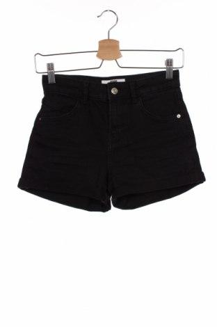Дамски къс панталон Bershka, Размер XS, Цвят Черен, 99% памук, 1% еластан, Цена 18,75лв.