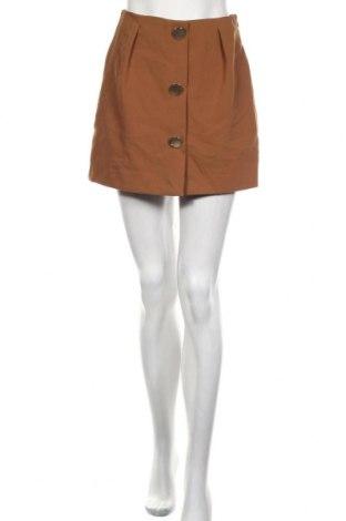 Дамски къс панталон Zara, Размер S, Цвят Кафяв, 73% полиестер, 20% вискоза, 7% еластан, Цена 29,40лв.