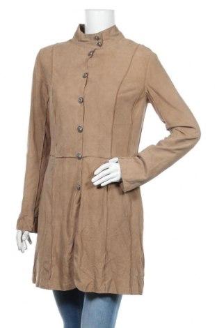 Dámský kožený přechodný kabát  Linea Tesini, Velikost S, Barva Béžová, Přírodní velur , Cena  3032,00Kč