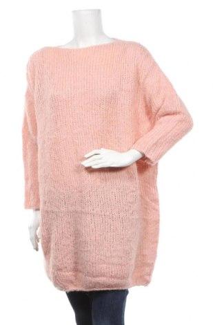 Pulover de femei American Vintage, Mărime M, Culoare Roz, 40%acril, 36% lână de alpaca, 14% lână, 10% poliamidă, Preț 162,47 Lei