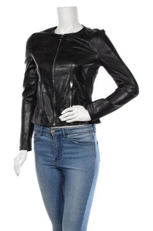 Дамско кожено яке Amisu, Размер S, Цвят Черен, Еко кожа, полиестер, Цена 45,15лв.