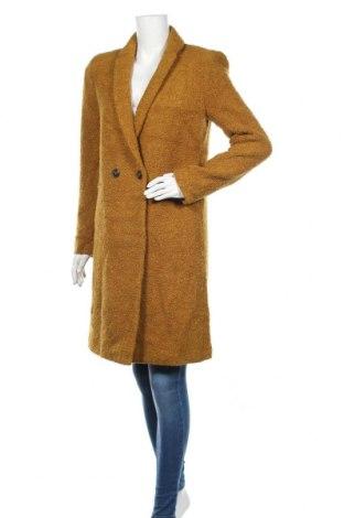 Дамско палто Promod, Размер M, Цвят Жълт, 65% акрил, 28% вълна, 7% полиамид, Цена 121,50лв.