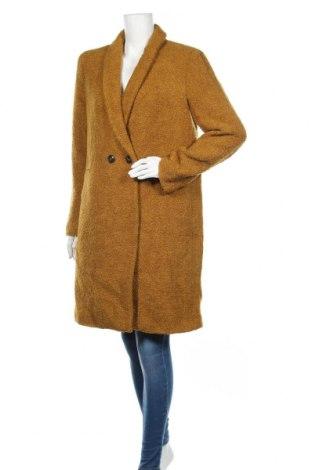 Damski płaszcz Promod, Rozmiar M, Kolor Żółty, 65%akryl, 28% wełna, 7% poliamid, Cena 316,88zł