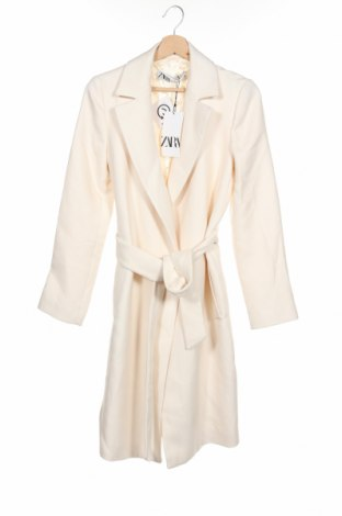 Damski płaszcz Zara, Rozmiar XS, Kolor ecru, 65% poliester, 35% wiskoza, Cena 163,50zł