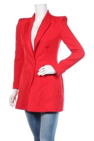 Sacou de femei Zara, Mărime S, Culoare Roșu, 64% poliester, 31% viscoză, 5% elastan, Preț 142,58 Lei