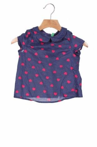Bluză pentru copii United Colors Of Benetton, Mărime 12-18m/ 80-86 cm, Culoare Albastru, Bumbac, Preț 69,08 Lei