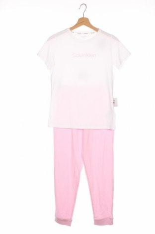 Pijama pentru copii Calvin Klein, Mărime 15-18y/ 170-176 cm, Culoare Alb, 95% bumbac, 5% elastan, Preț 194,90 Lei