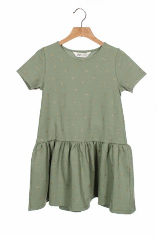 Rochie pentru copii H&M, Mărime 6-7y/ 122-128 cm, Culoare Verde, 68% bumbac, 30% poliester, 2% elastan, Preț 56,75 Lei