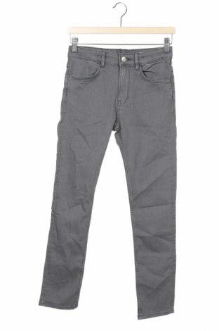 Dziecięce jeansy H&M, Rozmiar 11-12y/ 152-158 cm, Kolor Szary, 76% bawełna, 23% poliester, 1% elastyna, Cena 75,00zł