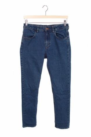 Blugi pentru copii H&M, Mărime 12-13y/ 158-164 cm, Culoare Albastru, 75% bumbac, 24% poliester, 1% elastan, Preț 79,58 Lei