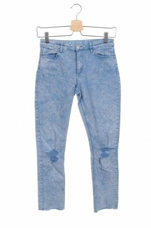 Blugi pentru copii H&M, Mărime 12-13y/ 158-164 cm, Culoare Albastru, 98% bumbac, 2% elastan, Preț 79,58 Lei