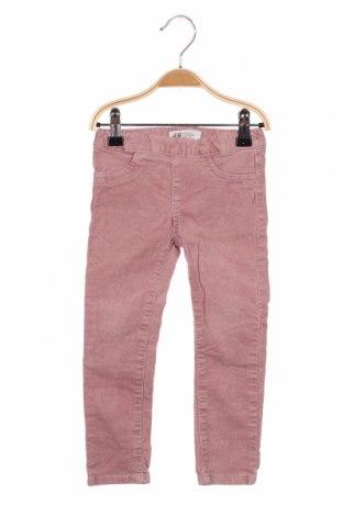 Pantaloni de catifea reiată, pentru copii H&M, Mărime 2-3y/ 98-104 cm, Culoare Roz, 98% bumbac, 2% elastan, Preț 59,21 Lei