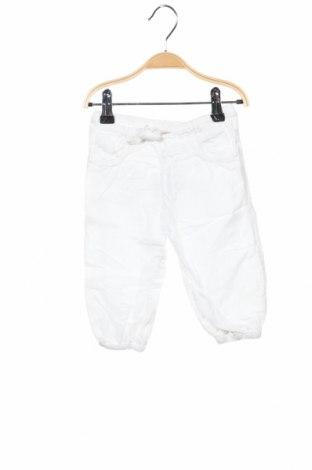 Pantaloni pentru copii H&M, Mărime 9-12m/ 74-80 cm, Culoare Alb, 55% in, 45% bumbac, Preț 62,50 Lei