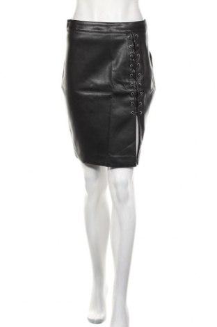 Кожена пола H&M Divided, Размер M, Цвят Черен, Еко кожа, Цена 24,00лв.