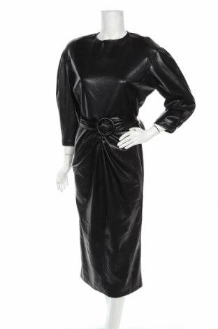 Кожена рокля Zara, Размер S, Цвят Черен, Еко кожа, Цена 66,75лв.