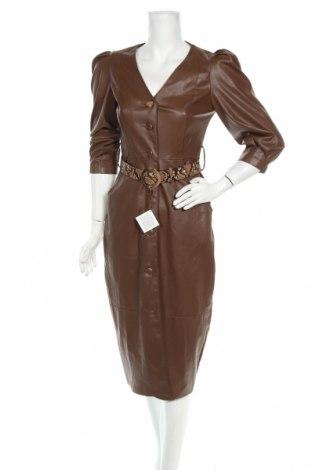 Кожена рокля Zara, Размер S, Цвят Кафяв, Еко кожа, Цена 51,75лв.