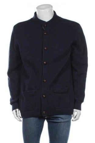 Jachetă tricotată de bărbați, Mărime XL, Culoare Albastru, 100% lână, Preț 96,16 Lei