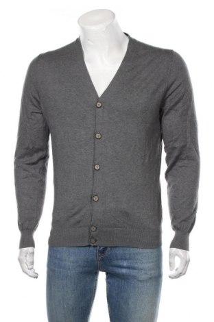 Jachetă tricotată de bărbați Massimo Dutti, Mărime L, Culoare Gri, 70% bumbac, 25% mătase, 5% cașmir, Preț 159,16 Lei