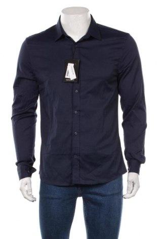 Męska koszula Boohoo, Rozmiar L, Kolor Niebieski, 53% bawełna, 42% poliester, 5% elastyna, Cena 78,00zł