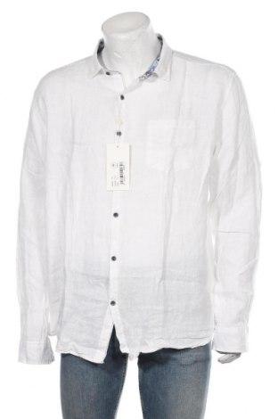 Męska koszula RNT23 Jeans, Rozmiar XXL, Kolor Biały, Len, Cena 238,00zł