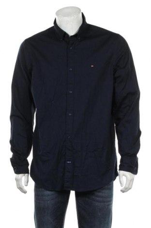 Męska koszula Tommy Hilfiger, Rozmiar XL, Kolor Niebieski, 97% bawełna, 3% elastyna, Cena 117,60zł