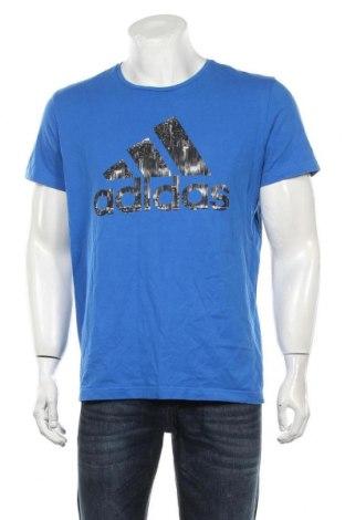 Мъжка тениска Adidas, Размер L, Цвят Син, Памук, Цена 24,15лв.