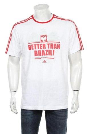Мъжка тениска Adidas, Размер L, Цвят Бял, 60% памук, 40% полиестер, Цена 44,25лв.