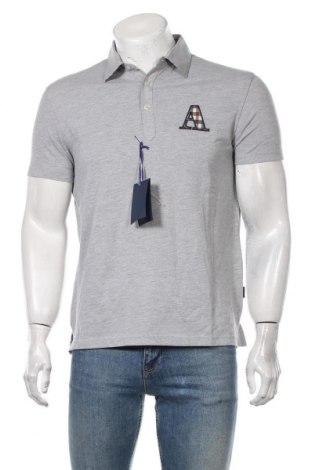 Мъжка тениска Aquascutum, Размер L, Цвят Сив, 97% памук, 3% еластан, Цена 59,25лв.