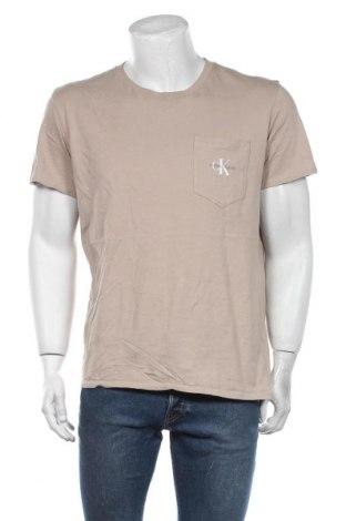 Мъжка тениска Calvin Klein Jeans, Размер XL, Цвят Бежов, Памук, Цена 48,96лв.