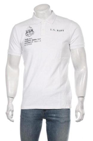 Мъжка тениска Schott, Размер M, Цвят Бял, Памук, Цена 47,40лв.