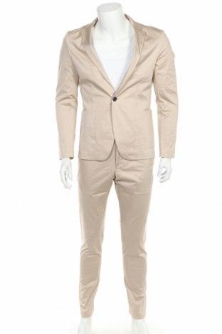 Costum de bărbați Lindbergh, Mărime M, Culoare Bej, 97% bumbac, 3% elastan, Preț 540,29 Lei