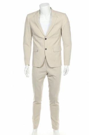 Costum de bărbați Lindbergh, Mărime M, Culoare Bej, 68% poliester, 30% viscoză, 2% elastan, Preț 441,62 Lei