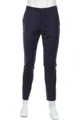 Pantaloni de bărbați Hugo Boss, Mărime M, Culoare Albastru, 74% lână, 22% poliester, 4% elastan, Preț 910,37 Lei